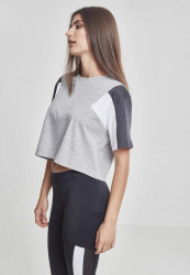 Dámske crop top tričko Urban Classics Ladies 3-Tone Short Oversize Tee gry/cha/wht