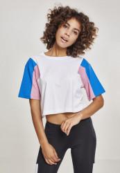 Dámske crop top tričko Urban Classics Ladies 3-Tone Short Oversize Tee wht/brightblue/coolpink