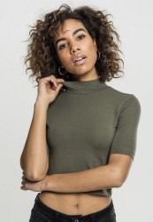 Dámske crop top tričko Urban Classics Ladies Cropped Turtleneck Tee olivové