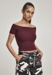 Dámske crop top tričko Urban Classics Ladies Off Shoulder Rib Tee redwine