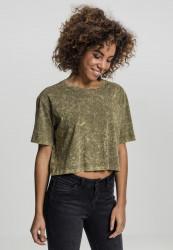 Dámske crop top tričko Urban Classics Ladies Random Wash Short Oversize Tee olivové