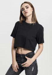 Dámske crop top tričko Urban Classics Ladies Short Oversized Tee čierne