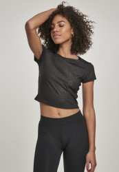 Dámske crop top tričko Urban Classics Ladies Stretch Pattern Cropped Tee black snake
