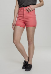 Dámske kraťasy Urban Classics Ladies Highwaist Stretch Twill Shorts coral