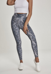 Dámske legíny URBAN CLASSICS Ladies AOP High Waist Leggings grey snake