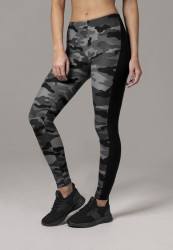 Dámske legíny URBAN CLASSICS Ladies Camo Stripe Leggings darkcamo/blk