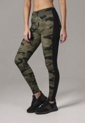 Dámske legíny URBAN CLASSICS Ladies Camo Stripe Leggings woodcamo/blk