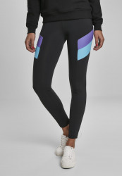 Dámske legíny URBAN CLASSICS Ladies Color Block Leggings black/ultraviolet