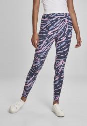 Dámske legíny URBAN CLASSICS Ladies High Waist Tie Dye Leggings darkshadow/pink