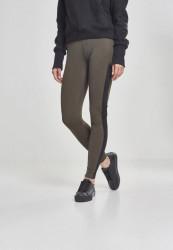 Dámske legíny URBAN CLASSICS Ladies Jacquard Camo Striped Leggings darkolive/blackcamo
