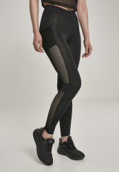 Dámske legíny URBAN CLASSICS Ladies Mesh Side Stripe Leggings black