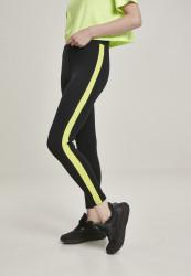 Dámske legíny URBAN CLASSICS Ladies Neon Side Stripe Leggings black/electriclime