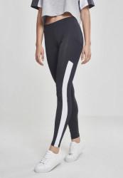 Dámske legíny URBAN CLASSICS Ladies Tech Mesh Striped Pocket Leggings čierne