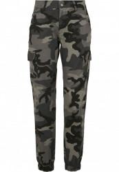 Dámske maskáčové nohavice URBAN CLASSICS Ladies High Waist Camo Cargo Pants dark camo
