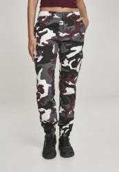 Dámske maskáčové nohavice URBAN CLASSICS Ladies High Waist Camo Cargo Pants wine camo