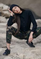 Dámske maskáčové nohavice URBAN CLASSICS Ladies High Waist Camo Cargo Pants wood camo