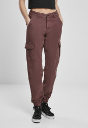 Dámske nohavice URBAN CLASSICS Ladies High Waist Cargo Pants cherry