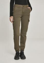 Dámske nohavice URBAN CLASSICS Ladies High Waist Cargo Pants olivové