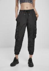 Dámske nohavice URBAN CLASSICS Ladies High Waist Crinkle Nylon Cargo Pants black