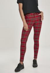 Dámske nohavice URBAN CLASSICS Ladies Skinny Tartan Pants red/blk