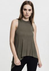 Dámske olivové tielko Urban Classics Ladies HiLo Viscose Top Pohlavie: dámske, Size US: XS
