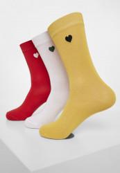 Dámske ponožky Urban Classics Heart Socks 3-Pack yellow/red/white 35-50: 35-38
