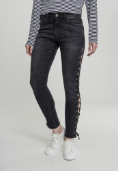 Dámske rifle URBAN CLASSICS Ladies Denim Lace Up Skinny Pants black
