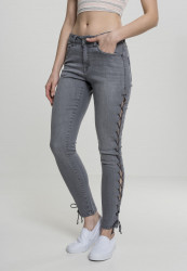 Dámske rifle URBAN CLASSICS Ladies Denim Lace Up Skinny Pants grey