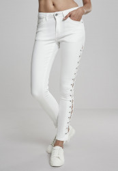 Dámske rifle URBAN CLASSICS Ladies Denim Lace Up Skinny Pants WHITE