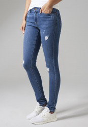 Dámske rifle URBAN CLASSICS LADIES RIPPED DENIM PANTS BLUE WASHED