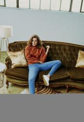 Dámske riflové nohavice URBAN CLASSICS Ladies High Waist Skinny Jeans mid stone wash Farba: mid stone wash,