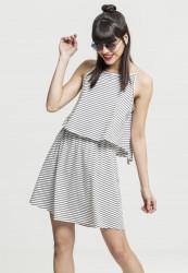 Dámske šaty URBAN CLASSICS Ladies 2-Layer Spaghetti Dressoff white/blk