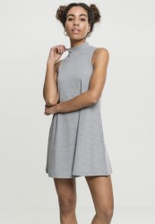 Dámske šaty URBAN CLASSICS Ladies A-Line Turtleneck Dress grey