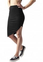 Dámske šaty URBAN CLASSICS Ladies Asymetric Viscose Skirt čierna