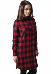 Dámske šaty URBAN CLASSICS Ladies Checked Flanell Shirt Dress blk/red