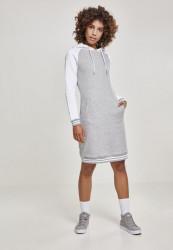 Dámske šaty URBAN CLASSICS Ladies Contrast College Hooded Dress gry/wht