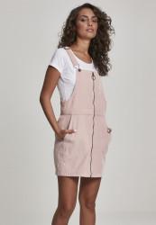 Dámske šaty URBAN CLASSICS Ladies Corduroy Dungaree Dress ružové