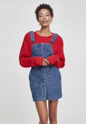 Dámske šaty URBAN CLASSICS Ladies Denim Dungarees Dress ocean blue