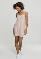 Dámske šaty URBAN CLASSICS Ladies Jersey Pleated Slip Dress lightrose