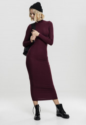 Dámske šaty URBAN CLASSICS Ladies Long Turtleneck Dress cherry