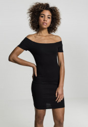 Dámske šaty URBAN CLASSICS Ladies Off Shoulder Rib Dresss čierne