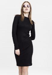 Dámske šaty URBAN CLASSICS Ladies Rib Dress čierne