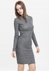 Dámske šaty URBAN CLASSICS Ladies Rib Dress tmavošedé
