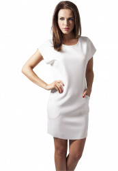 Dámske šaty URBAN CLASSICS Ladies Scuba Dress biela