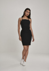 Dámske šaty URBAN CLASSICS Ladies Short Spaghetti Pique Dress black