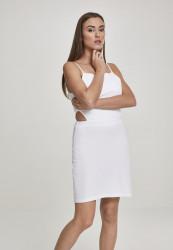 Dámske šaty URBAN CLASSICS Ladies Short Spaghetti Pique Dress white