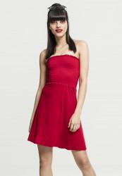 Dámske šaty URBAN CLASSICS Ladies Smoke Bandeau Dress červená