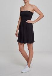 Dámske šaty URBAN CLASSICS Ladies Smoke Bandeau Dress čierne