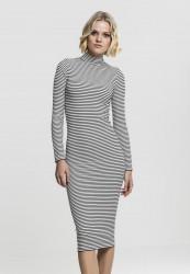 Dámske šaty URBAN CLASSICS Ladies Striped Turtleneck Dress