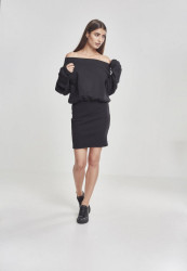 Dámske šaty URBAN CLASSICS Ladies Sweat Off Shoulder Dress black